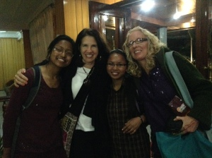 'Doah photo courtesy of Alisa Daum From left to right: Nepali student Kriti, SU President Tracy Fitzsimmons, Nepali student Sapana and GCP Nepal trip leader Ann Denkler.